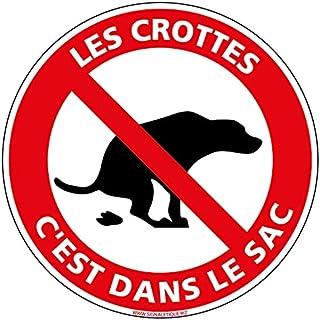 Adhésif - Déjection Canine, Les Crottes c'est dans le Sac - Diamètre 125 mm - Protection Anti-UV