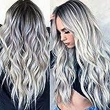 Peluca sintética Ombre, color gris plateado, ondulado de aspecto natural, resistente al...
