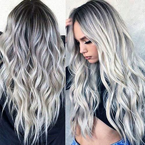 Peluca sintética Ombre, color gris plateado, ondulado de aspecto natural, resistente al calor