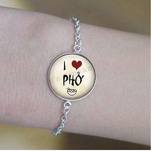 stahpk I love Pho pulseras - Pho Jewelry - Pho pulseras - Gift Foodie - Regalo para amantes de la comida - Cita vietnamita