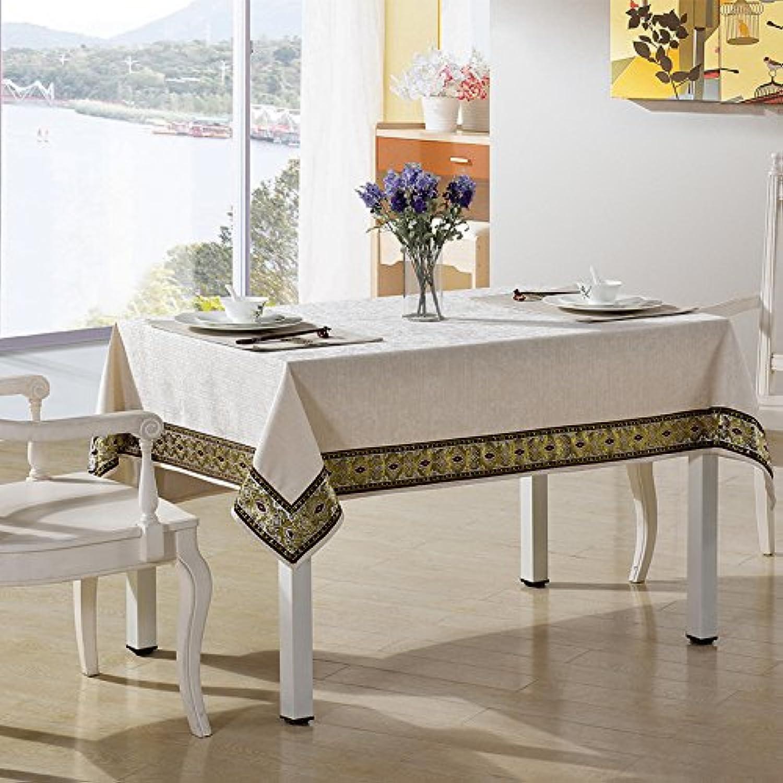 Jhxena Im Nordischen Stil Wohnzimmer Tisch Tuch Dicke Square Stickerei Spitze Tischdecke Tuch, Weiss 140  180 cm.