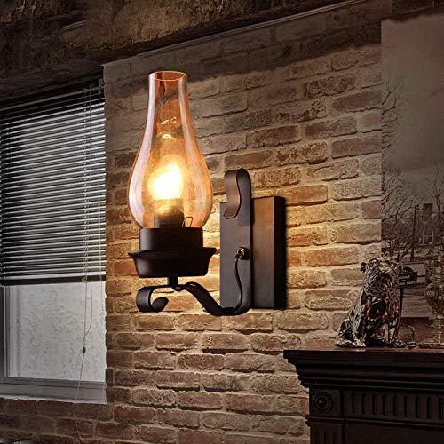 Yanqing Wandlampen/wandlampen van glas, rustiek, voor de entree, woonkamer, balkon, muur, kerosine, vintage, retro, wandlampen van glas, industrieel metaal, 20 x 30 cm, verlicht je leven