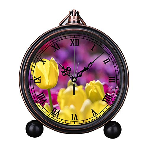MAFALE Reloj despertador retro europeo redondo silencioso de
