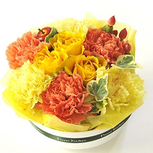 FlowerKitchenから贈る フラワーケーキ (イエロー系) 生花アレンジメント お祝い花ギフト