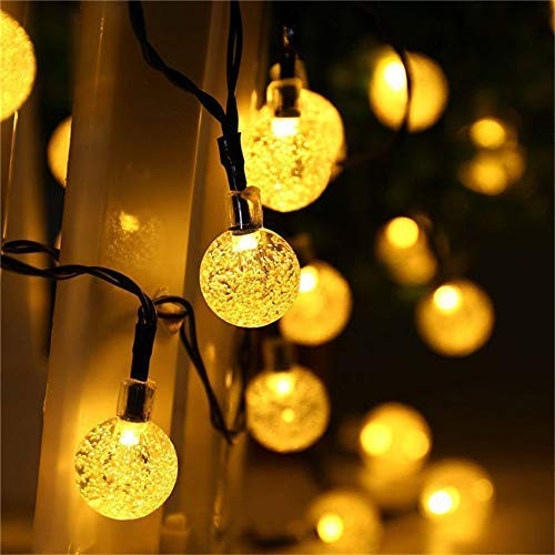 Solar String Lights,39FT 100 D WarmWhite Solar Fairy Lights 8 Lighting Modes Waterproof Outdoor Crystal Ball Decor Lamp for Garden Yard Patio Flower Trees Lawn Landscape Party Wedding Christmas BJY969