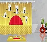NFDG Sol japonés Volando grulla de Corona roja Sala de Estar, Dormitorio, Cocina, Imagen en 3D, Accesorios de baño, Set