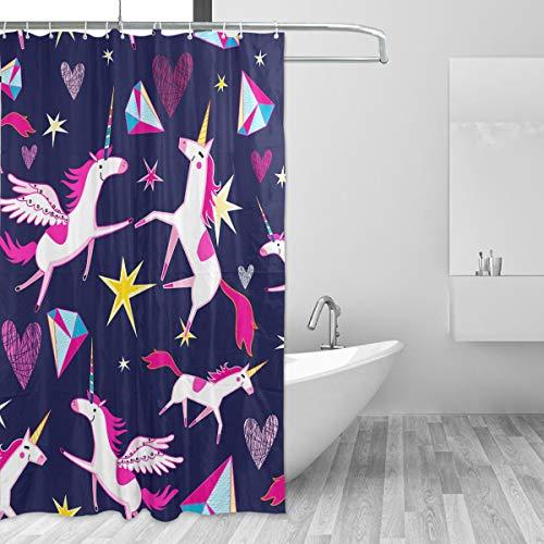 Ahomy Duschvorhang, Feen-Einhorn, Sterne, Herzen, wasserabweisend, Anti-Schimmel, Polyester, Duschvorhänge, Home Deco, mit 12 Vorhanghaken, maschinenwaschbar, 150 x 180 cm