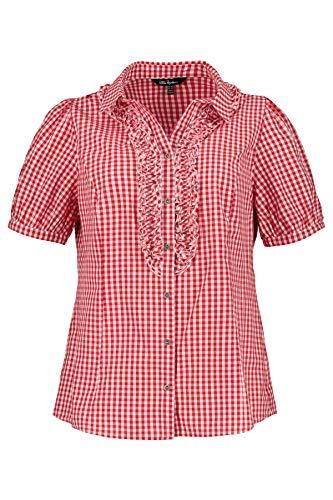 Ulla Popken Damen Hemdkragen Rüschen Trachtenbluse, Orange (Apricot 54), (Herstellergröße: 58+)