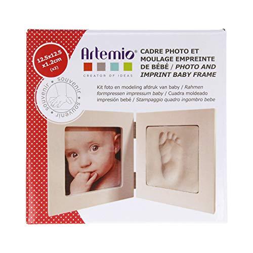 Artemio Kit Moldeo de huella de bebé y marco de fotos, madera, blanco, 12.5 x 12.5 x 1.2 cm