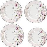 GuangYang - Piatti rotondi in porcellana, 3 pezzi da 20,3 cm + 1 pezzo da 20,3 cm, set di piatti da dessert, design floreale