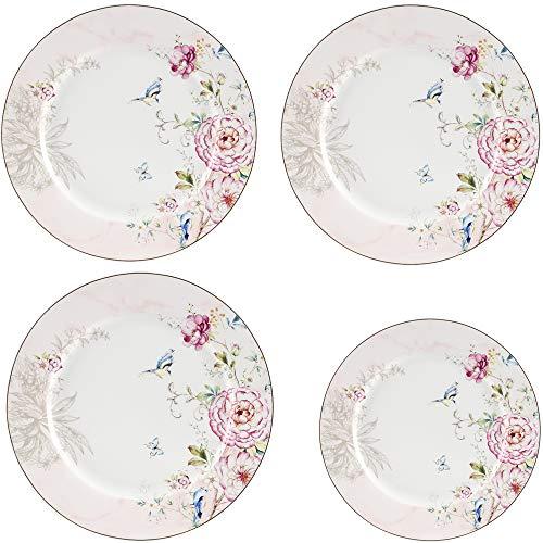 GuangYang Platos de cena redondos de porcelana, 3 piezas de 10.5 pulgadas + 1 pieza de 8 pulgadas, juego de platos de postre, platos de servicio de vajilla de diseño de flores
