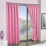 ECO - Cali - 2 cortinas térmicas y opaca - Material supersuave - Color liso - rosa - 229 cm de ancho x 229 cm de largo