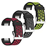 SKYLET Compatible with Charge 2 Bands for Men Women, 3 Pack Breathable Silicone Replacement Sport Wristbands Compatible with Fitbit Charge 2 with Secure Watch Clasp Large Small