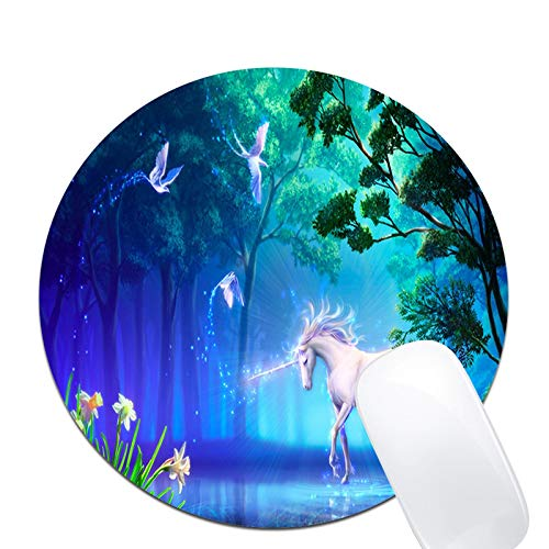 Fantasy Birds Flower Horse Tree Unicorn Mouse Pad,Custom Round Mouse Pad Non-Slip Rubber Mouse pad Office Gaming Accessories Desk Decor Mouse Pads for Computers Laptop