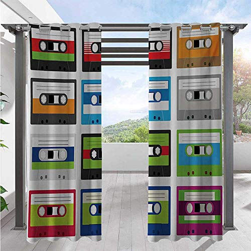 Adorise Blackout Curtains Collection of Retro Plastic Audio Cassettes Tapes Old Technology Entertainment Theme Outdoor DéCor Patio Curtains Create A Comfy Homey Environment Green Blue W108 x L96 Inch