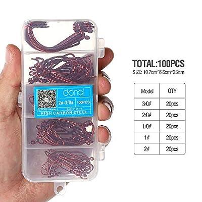 DONQL Wide Crank Fishing Hooks High Carbon Steel Worm Senko Bait Jig Fish Hooks With Plastic Box (100PCS Silver)