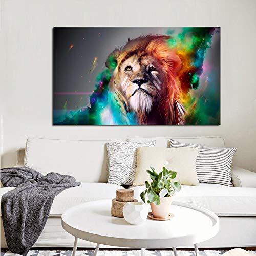 N / A Große Größe Pangu Kultur Moderne Tier Bunte König der Löwen Leinwand Malerei HD-Druck auf Leinwand Familie Wanddekoration Kunst rahmenlose Bild Malerei A25 60x80cm