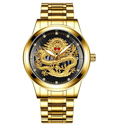 Armband für Herren/Skxinn Männer Quartz Uhrenarmband mit Edelstahl Uhrarmband,Fashion Embossed Diamond Dragon Face Watch,Casual Herrenuhr Ausverkauf(E)