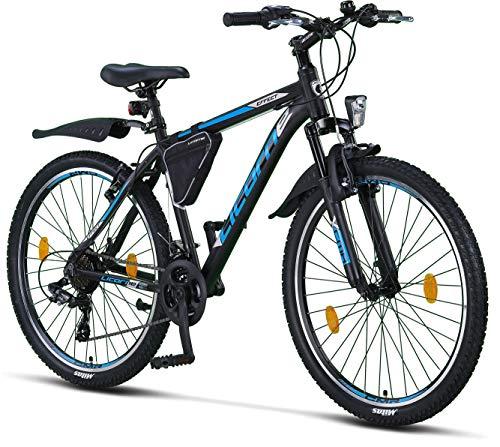 Licorne Bike Effect Premium Mountainbike in 26 Zoll Aluminium, Fahrrad für Jungen, Mädchen, Herren und Damen - Shimano 21 Gang-Schaltung - Herrenrad - Schwarz/Blau