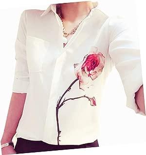YINROM Spring Summer Rose Flower Women Long Sleeve Elegant Chiffon Shirts Blouse