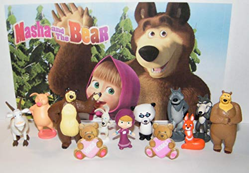 Masha and the Bear Figure Set/Party Favor Set of 10 Figures and 2 Fun BearRings with Masha, Bear, Silly Wolf, Pig Rosie, Panda and More!