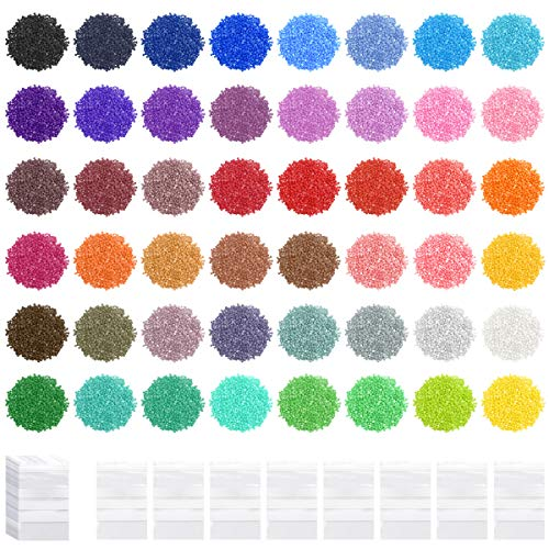 BILLIOTEAM 48 Colors 2.8mm 5D Diamond Painting Replacement Round Diamonds Beads with 50 PCS Self-Seal Bags for Diamond Painting Missing Drills DIY Crafts Accessories Supplies