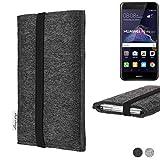 flat.design vegane Handy Tasche Coimbra für Huawei P8 Lite 2017 Dual SIM - Schutz Hülle Tasche Filz vegan fair schwarz