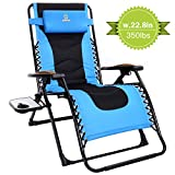 OT QOMOTOP Oversize XL Zero Gravity Chair, Padded Patio Outdoor Lounge Recliner Chair with Adjustable Headrest and Side Table Support 350lbs