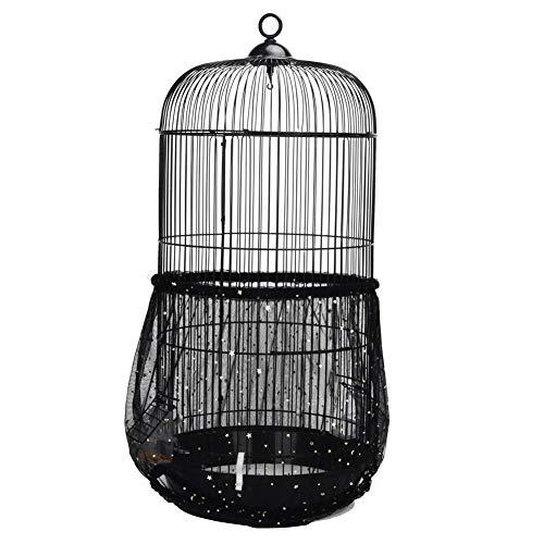 QBLEEV Vogelkäfig Samenfänger Netz Vogelkäfig Samen Rock Guard Netz Abdeckung Shell für runde Vogelkäfige, schwarz