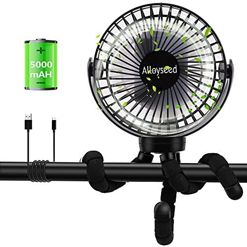 Alloyseed Ventilatore Passeggino, Ventilatore da Tavolo con Treppiedi Flessibile, Mini Ventilatore da Scrivania Silenzioso,3 Velocità,USB Portacellulare da Tavolo Regolabile 360°,Ventola Ricaricabile