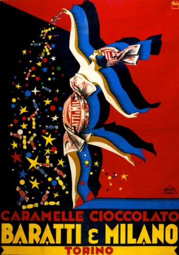 "Caramel Chocolate Candy Fashion Girl Baratti Milano Milan Torino Italy Italia 12"" X 16"" Image Size Vintage Poster Reproduction"