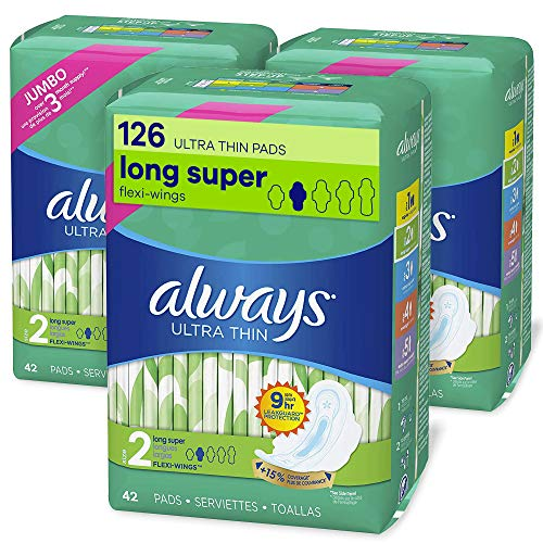 Always Ultra Thin Feminine Pads with Wings for Women, Super Absorbency, Unscented, Size 2 (126...