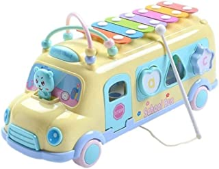HHSDJ Yellow green baby child pop music multi-function puzzle building block bus hit hammer musical instrument toy (Color ...