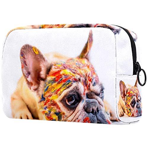 Bolsa de cosméticos para mujeres, diseño de bulldog francés para perros, bolsas de maquillaje, accesorios organizadores regalos
