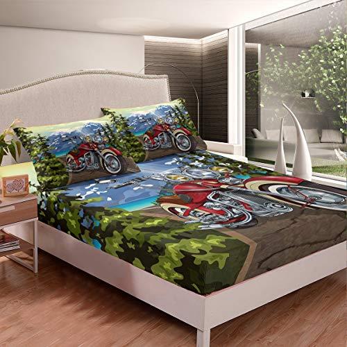 Juego de ropa de cama 3D para motocicleta, para niños, adolescentes, montañas, todoterreno, juego de sábanas para motocicleta, ilustración de habitación, 2 hojas, tamaño individual