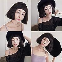 HongJie Hou ウィッグ女性の短い髪高温プラズマボボヘッド前髪犬と現実的な合成ボボヘッドウィッグ学生 (Color : Chocolate 37CM)
