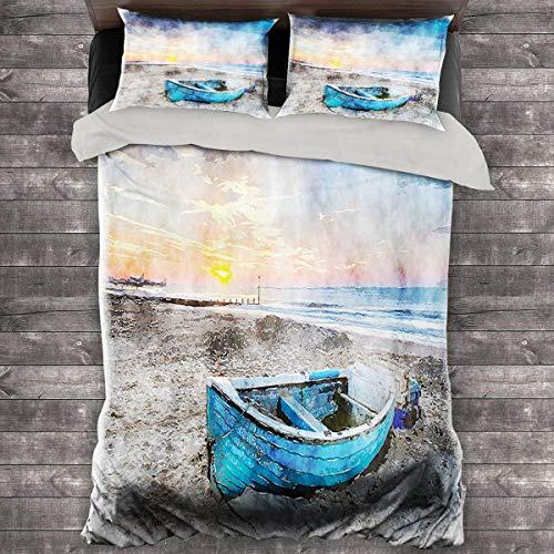 Miles Ralph Sunrise Medium Double Duvet Cover Fishing Boat on Beach with Horizon on Backdrop Seashore Grunge Watercolor Print King Duvet Cover 104'x89' inch Blue Orange