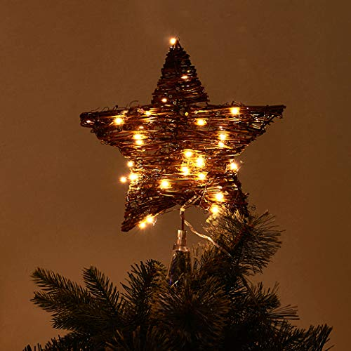 "EAMBRITE 10"" 40LT Christmas Rattan Tree Topper Indoor Rattan Natural Star Treetop"