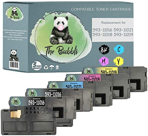 The Bubbli Original |Compatible Toner for DELL 1250 1250c 1350 1350cn 1350cnw 1355 1355cn 1355cnw C1760 C1760nw C1765 C1765nf C1765nfw (Pack of 5)