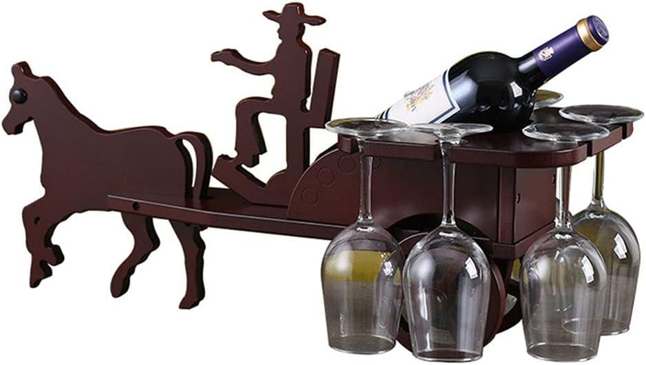 Madera Botelleros Vino Vertical Armario de Alcohol Decorativos Mueble Estante Botellas de Vino con 6 Soporte de Vidrio para Vinoteca Salon Bar - Rojo Marrón
