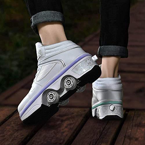 XRDSHY Zapatos con Ruedas Patines De Ruedas Multiusos 2 En 1 para Niñas Niños Calzado Deportivo De Moda Multifuncional De Deformación,White-EU34