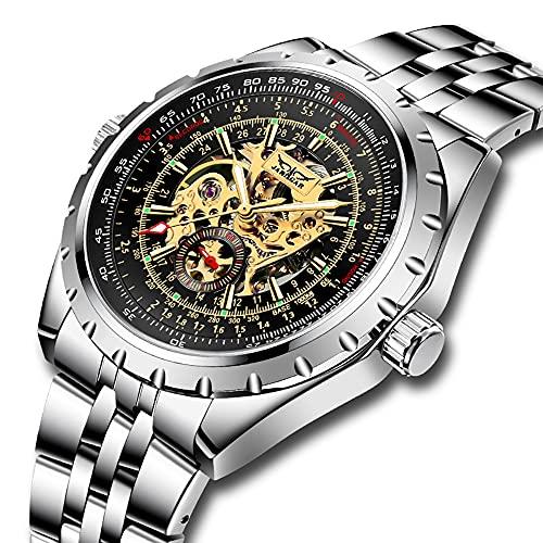 Automatik Uhr Herren Armbanduhr Mechanisch Herrenuhr Automatik Uhr Skelettuhr Herren Edelstahl Uhren Silber Skelett Uhr für Männer