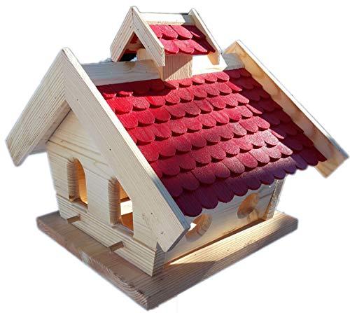 Naturholz-Schreinermeister Vogelhaus-XXL mit Holzschindeln und Putzklappe lasiert Vogelhäuser-Vogelfutterhaus großes Vogelhäuschen-aus Holz Wetterschutz (Rot)