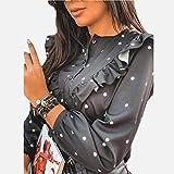 Manga Larga Camisa Blusa para Mujer, Ropa, Volantes para Mujer, Lunares, Cuello Redondo, Camisa De Manga Larga para Mujer,BlusasCasuales De OtoñoM Entrega Rápida Gratuita