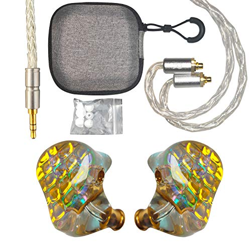 Resin in-Ear Monitor with Pure Copper Graphene Unit,with Copper-Silver 8-core 3.5mm MMCX Connector for Singers Musicians Stage/Audio Recording (Mermaid)