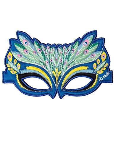 Dreamy Dress-Ups 50799 masker, stoffen masker, peacock, blauwe pauw Pavo cristatus