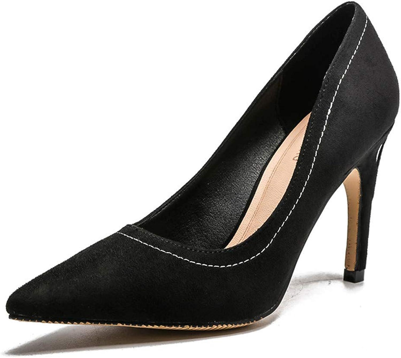 Meiren Pumps Simple Ladies Temperament Pointed High Heels Stiletto shoes Black