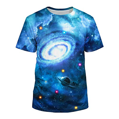 cneWID Unisex 3D Realistic Printed Casual Short Sleeve T-Shirts Blue3 M