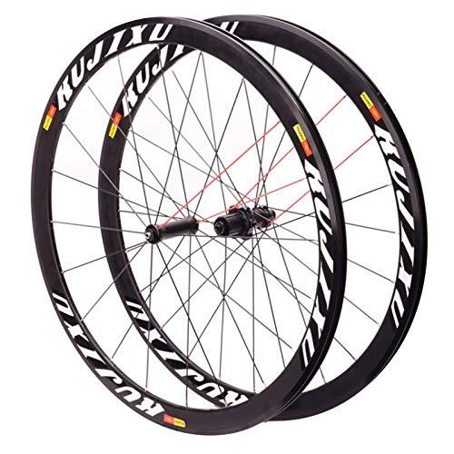SJHFG Ciclismo Wheels 700C,Bicicleta de Carretera Ruedas Altura de La Llanta 38mm Frente 20 Trasero 24 Hoyos Llanta de Aleación de Aluminio (Color : White)