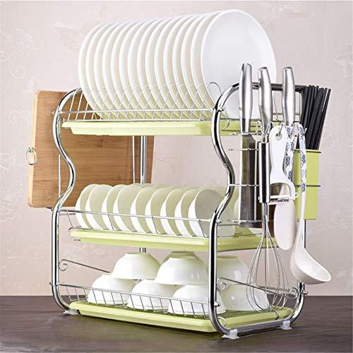 Madeinely Escurreplatos de cocina de 3 niveles, escurreplatos de cocina, tamaño libre, color verde 1
